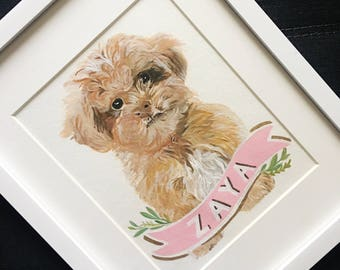 Pet Portrait with Name Banner
