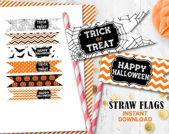 Halloween straw flags Instant Download Orange black Halloween cupcake toppers Trick or Treat Halloween party toppers
