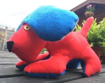 Woofoo, the felt fabric stuffed  handcrafted toy dog red and blue 26x18x13 cm