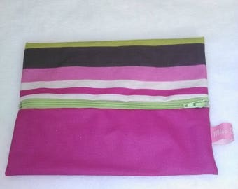 coated fabric bag with purple stripes