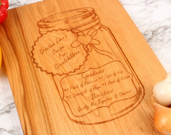 Cutsomizable Mason Jar Love Recipe,Grandparent's Gift, A Gift For Mom, A Gift For Dad, Engraved Cutting Board