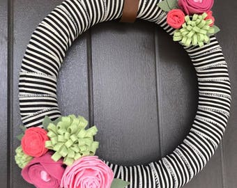Felt Flower Wreath- Spring- Summer- Stripes