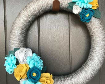 Felt Flower Wreath- Yarn- Modern