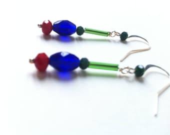 Dangle earrings, green, blue, Red