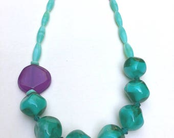 Asymmetrical necklace lagoon green and purple