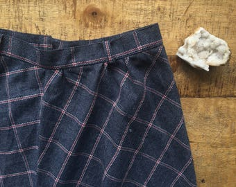 Mid Length Plaid Skirt