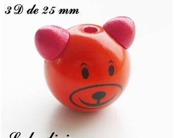 25 mm wooden bead, Pearl 3D Teddy bear head: Orange