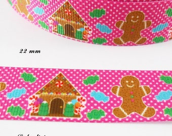 Grosgrain Pink Ribbon with white dots snowman & House gingerbread 22 mm sold by 50 cm