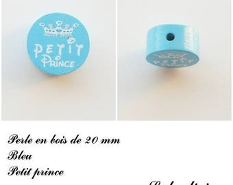 20 mm wooden bead, Pearl flat, little prince: Blue