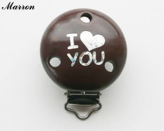 Clip / buckle, wooden pacifier Clip, Brown: I LOVE YOU