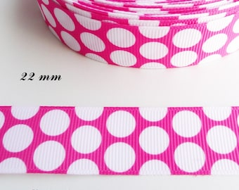 Ribbon grosgrain fuchsia with dots of 22 mm sold by 50 cm