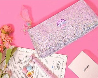 Silver Glitter Pencil Case Metallic Pen Pouch Shimmering Cosmetic Makeup Storage Bag Zipped Bag Zipper Bag School Office Stationery
