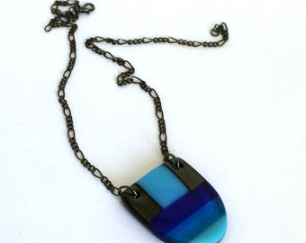 Fused glass pendant/chunky necklace/Handmade glass jewellery/Blue and grey necklace/Statement jewellery/Curved pendant/geometric pendant