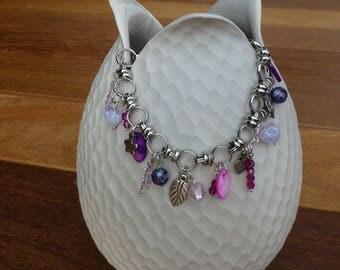 Bracelet Bohemian pink glass beads, fuchsia, purple and metal charms