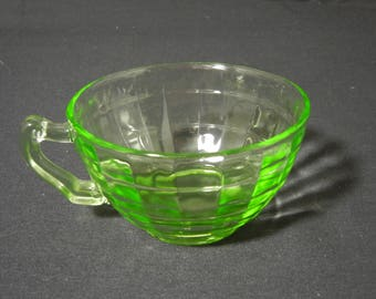"Green Block Optic ""Block"" Cup by Hocking Glass Go."