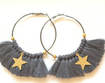 Elegant hoops & gray tassels! Large earrings, tassel pom pom pom pom earrings gold black