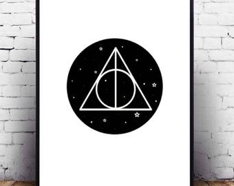 Harry Potter minimalist wall poster art printable, Harry Potter fanart wall decor of deathly hallows symbol, iPhone background