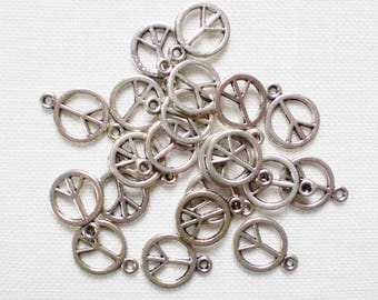 20 charms peace and love 15 mm x 18 mm silver - jewelry creation