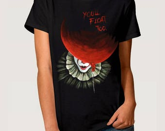 Pennywise Art T-shirt Stephen King 'IT' Men's Women's Tee, All Sizes