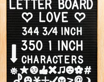 """10"""" x 10"""" Black Felt Letter Board with Oak Wood Frame, 694 Letters + Special Characters & Emojis, Two Canvas Letter Bags, and Plastic Stand."""