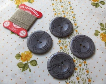 4 large buttons decorative grey 36mm