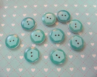 10 pattern octagonal 17mm wooden buttons