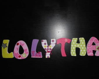 Name with LOLYTHA custom wooden letters - door sign