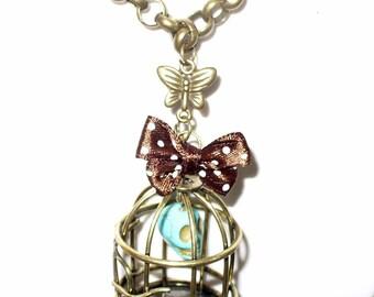 Kit skull turquoise bronze birdcage necklace 80cm