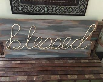 blessed rope sign wall decor