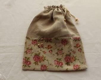 linen clutch bag and pink print