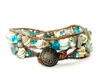 "Beaded wrap bracelet for women - Double wrap - ""Serene Reflections"" with pyrite, pearls, jasper & mother of pearl"