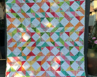Colorful Ribbons Homemade Quilt