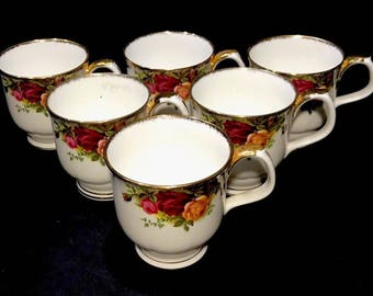 Royal Albert Old Country Rose Coffee Hot Chocolate Mugs Set Of 6 England