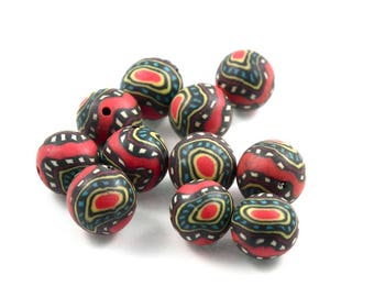 X 10 beads fimo Red 10 mm