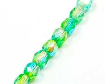 set of 10 beads faceted glass 4 mm blue green mix AB color