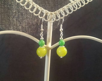 Silver plated earrings and Jade beads