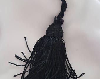 Tassel Moroccan braided black silk thread