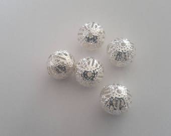set of 5 Silver round beads filigree 10mm
