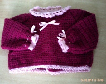 Bra made of Burgundy and pink baby wool