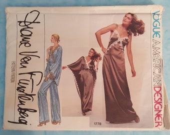 Vintage Vogue 1778 Uncut Sewing Pattern ~ Vogue American Designer Diane Von Furstenberg Size 12