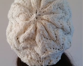 White Knit Slouchy Hat
