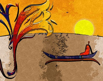Place mat DESIGN modern, WASHABLE and durable - African painting, fisherman in boat at dawn - classic.