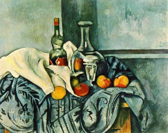 ORIGINAL design, durable and WASHABLE PLACEMAT - Paul Cezanne - still life with bottle of peppermint - classic.