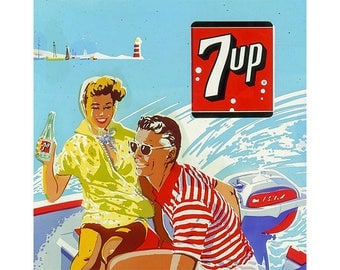VINTAGE TABLE SET, ORIGINAL design, WASHABLE and durable - old poster, Seven up.