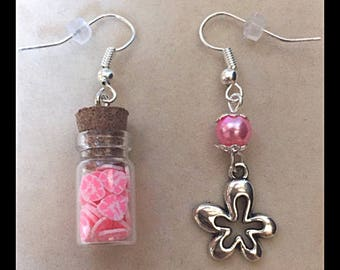 "Mismatched earrings ""Hibiscus"""