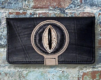 Checkbook, ethnic wallet in inner tube recycled and sand and black leather.