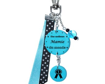 "Bag charm ""voted best Grandma in the world"" turquoise"
