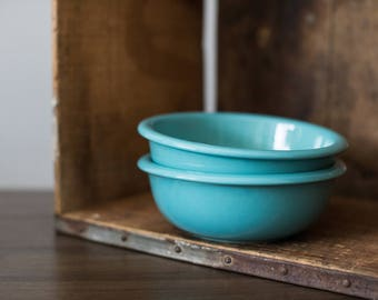 Vintage Crown Corning Japan Prego Teal Soup / Cereal Bowl (set of 2) Turquoise