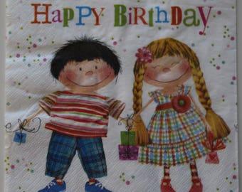 napkin 2 friends birthday 4 identical patterns
