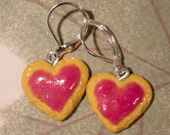 Cake earrings polymer clay strawberries hearts